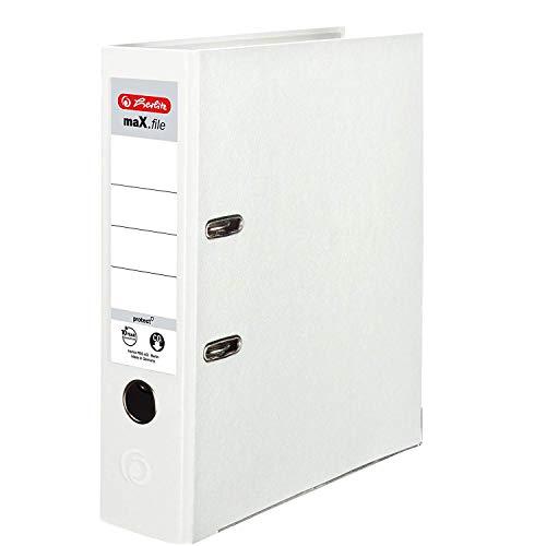 Herlitz 9942681 Ordner maX.file protect A4 8cm weiß, PP-Kunststoffbezug/Papier hellgr.besch. 5er Packung