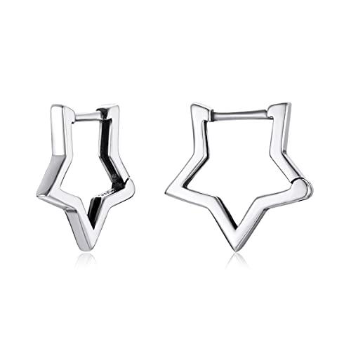 GOXO orecchini a cerchio orecchini a forma di stella in argento sterling per donne ragazze (stella)