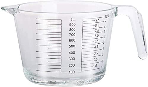 Qiuerte 1 taza medidora de vidrio de 34 onzas taza de desayuno para niños Messuring Cup Stovetop & Microondas resistente al calor vidrio borosilicato Messuring Mug