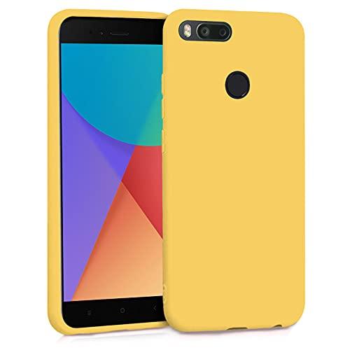 TBOC Funda para Xiaomi Mi A1 - Mi 5X- Carcasa Rígida [Amarilla] Silicona Líquida Premium [Tacto Suave] Forro Interior Microfibra [Protege la Cámara] Antideslizante Resistente Suciedad Arañazos