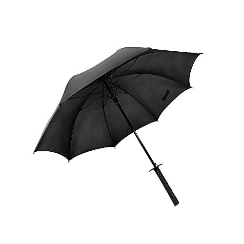 YHD Paraguas Largo Estilo SamuráI, Paraguas con Cierre Manual Automático,Katana con Funda para Paraguas,Resistente Al Viento,Lluvia,Sombra,Color Negro