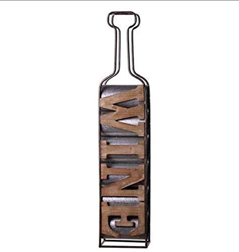 Estanterías de vino dkee Estante for vino, Estante for vino montado en la pared de metal y madera, Botellero de temática industrial, Marrón