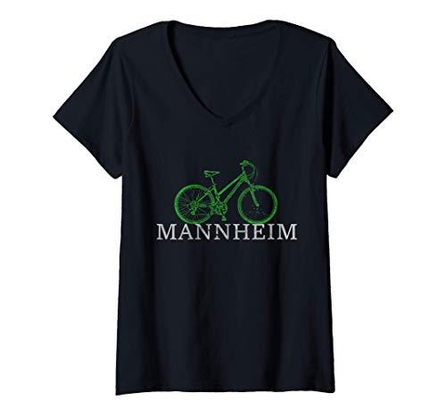 Damen Grüne Mobilität - Nachhaltig mit dem Fahrrad in Mannheim T-Shirt mit V-Ausschnitt