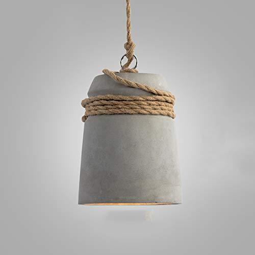 Lampada a sospensione in cemento grigio in industriale regolabile in altezza 1- Flammig E27 a corda di canapa per studio bar caffetteria Ufficio Cucina Sala da pranzo Biblioteca Banchetto a soppalco