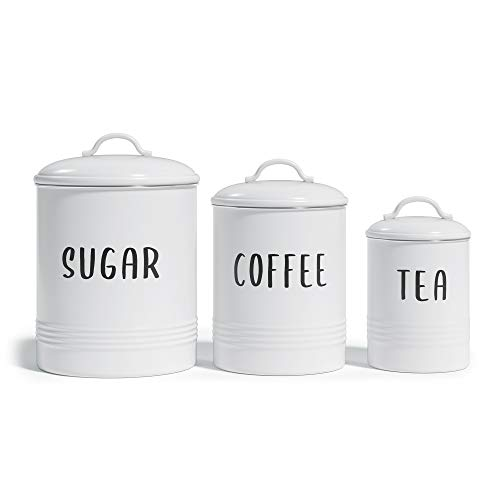 """Barnyard Designs Set of 3 Decorative Nesting Kitchen Canisters, Airtight Containers with Lid, Rustic Farmhouse Sugar, Coffee, and Tea Storage for Kitchen Counter, White, Largest Measures 6.25"""" x 7"""""""