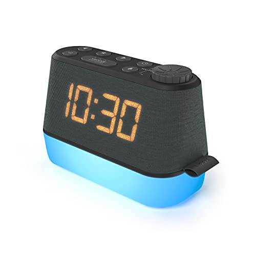 Alarm Clock Radio with Nightlight & USB Charger, FM Radio Dual Alarm Clocks for Bedroom, Bedside – Easy Read Dimmable LED Display, Relaxation Sounds Calming Sleep Aid, Mains Powered Battery Backup