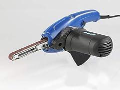 Elektryczna szlifierka taśmowa 400W z 12 pasami ściernych 130 mm 2 ramiona szlifierskie w schowku