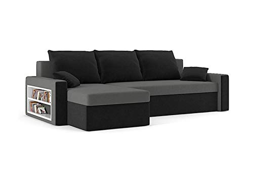 Sofini Ecksofa Drive mit Schlaffunktion! Best Ecksofa! Couch mit Bettkasten und Regalfächer! (Haiti 14+ Haiti 17)