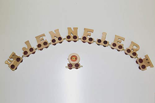 Buchstabenzug Namens-Set 8 Buchstaben Namen (kostenfreie Loc, Waggon & Fotozug) | Fun World Toys® Buchstaben Zug Holz Name