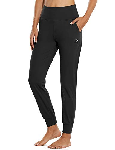 BALEAF Women's Workout Joggers Buttery Soft Active Running Sweat Pants Pockets Lounge Yoga Athletic Petite Black Size 8-10 M