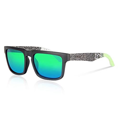 Queshark Gafas de Sol Polarizadas Shades para Hombres Lente Cuadrada Espejo Vintage (C05)