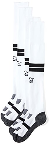 Starter Unisex Adult and Youth Soccer Socks, Amazon Exclusive, White with Black Stripe, S (Youth Shoe Size 9-3.5)