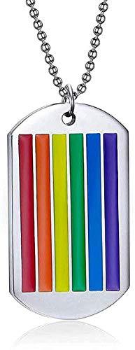 WYDSFWL Collar Mujer Hombre Moda Arco Iris Etiqueta de Perro Collar Colgante para Hombres Gargantilla de Acero Inoxidable Gay y Lesbianas Orgullo joyería