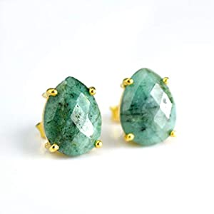 Raw Emerald stud earrings, everyday earrings, Vermeil Gold or silver, prong set studs, teardrop studs, October Birthstone studs, May Birthday gift, green teardrop post earrings