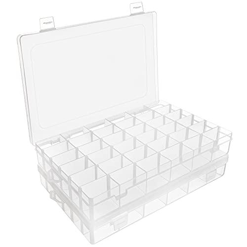 Belle Vous Boite Compartiment Plastique Transparent (Lot de 2) - 27,3 x 17,6 x 4,3 cm - Boite Plastique Rangement avec 36 Compartiments Ajustables - Boite Rangement Bijoux, Perles & Artisanat