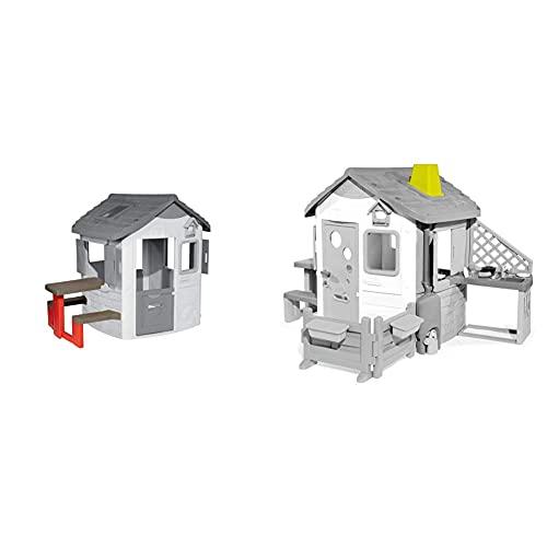 Smoby – Picknicktisch für Smoby Spielhäuser – Zubehör für Spielhaus, Sitzbank mit Tisch & Schornstein für Smoby Spielhäuser – Zubehör für Spielhaus, wetterbeständig, einfacher Aufbau