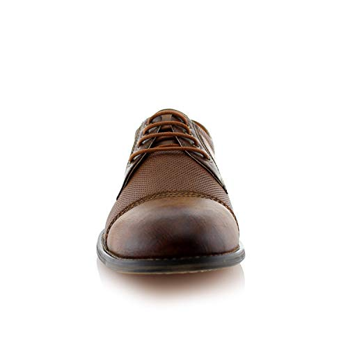 Ferro Aldo Mens Oxfords Classic Modern Captoe Dress Shoes Brown 13