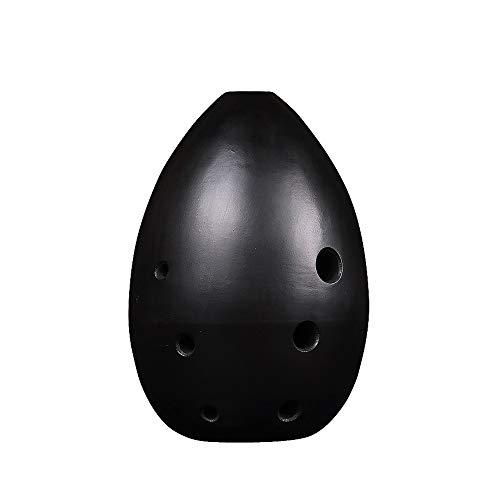JCCOZ Plain Schwarze Keramik F, Acht-Loch Ocarina Birnenförmig Blasinstrument mit Schutztasche und Noten