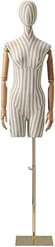 YZJL Maniquí Femenino Torso Stripe Vestido de Cuerpo Completo con Base de Metal y Brazos para Ropa Exhibición de joyasmaniquí