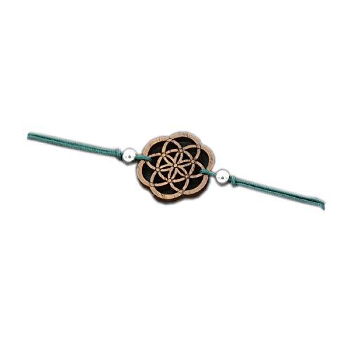 Eydl Wood Jewelry Holz Armband Samen des Lebens aus Nussholz. Armband ist größenverstellbar in dunkelgrün. Feinste Handarbeit aus Österreich.