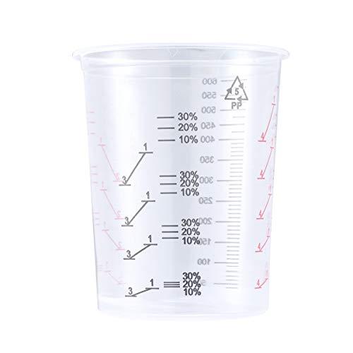 HEALLILY 5 Stück Lack Messbecher 600ML Einweg Kunststoff Messbecher Mischbecher Transparent Skala Becher Farbe Lack Epoxidharz Basteln Anmischen Küche Labor Handwerk Mess Werkzeug
