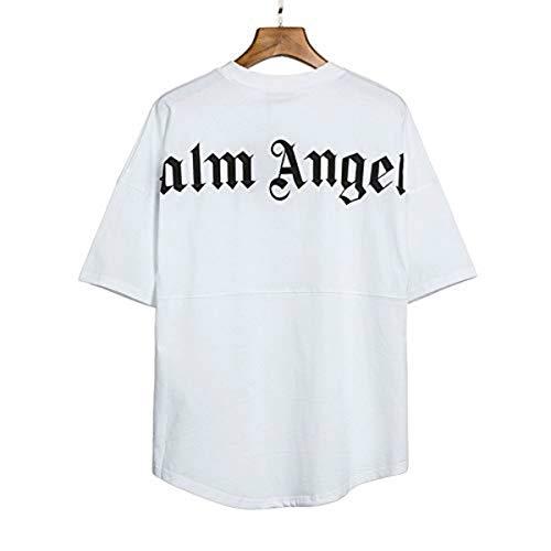Herren- und Damen-T-Shirt Palm Angel Kurzarm-Casual-Buchstaben mit Rundhalsausschnitt aus Baumwoll-Fledermausärmeln (White,L)