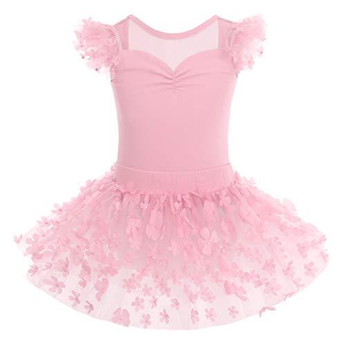 IMEKIS Mädchen Kinder Ballett Kleid Baumwolle Gymnastik Trikot Tutu Rock Fliegenärmel Rückenfrei Blume Bodysuit Tanz Kostüm Prinzessin Fee Ballerina Dancewear Rosa 5-6 Jahre