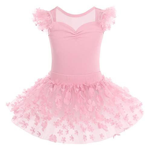 OBEEII Vestido de Ballet Maillot de Danza Gimnasia Leotardo Algodón Body Clásico para Niña Rosa 3-4 Años