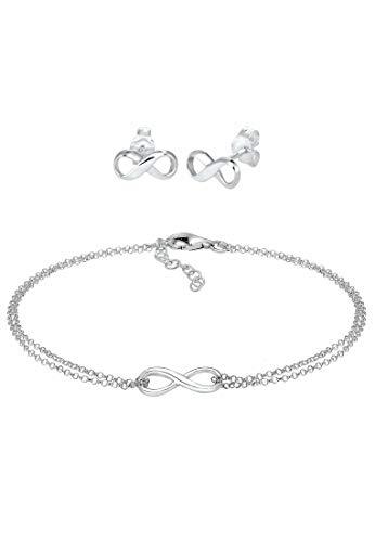 Elli Juego de Joyas Pendientes de mujer pulsera símbolo del infinito tendencia ajustable en plata de ley 925