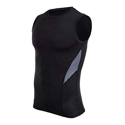 Mens Fitness Sleeveless Rashguard T-Shirt Bodybuilding Skin Tight-Drying Tops Gray