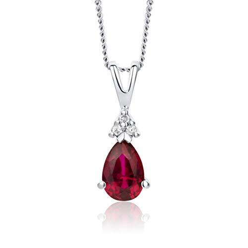 Orovi Halskette Damen Weißgold 9 Karat / 375 Gold Kette Ruby mit Rundschliff Diamant Kette 45 cm