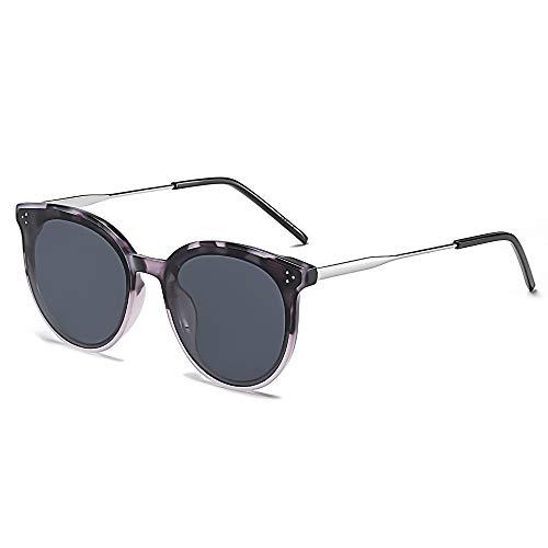 SOJOS Retro Sonnenbrille Damen Hochwertige Vintage Runde Brille Übergroß UV 400 Schutz mit Federscharnier, Brilletuch und Brillenbeutel DOLPHIN SJ2068 Grau Demi Rahmen/Grau Linse