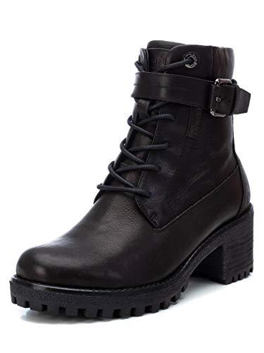CARMELA - Botín Militar de Piel con Tacón Bajo para Mujer - Cierre con Cremallera - Color Negro