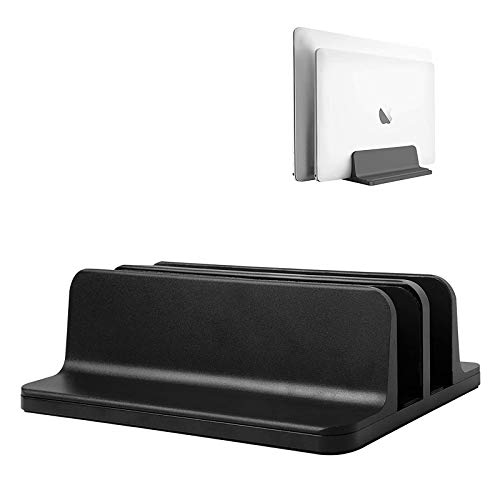 Vertical Laptop Stand,Double Desktop Stand Holder with Adjustable Dock (Up to 17.3 inch), Fits All MacBook/Surface/Samsung/HP/Dell/Chrome Book (Black) (Double-Black) (Black)