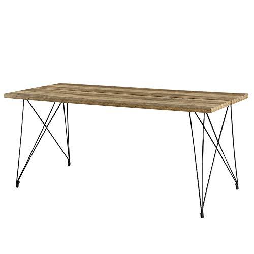 [en.casa] Tavolo da Pranzo 178 x 78 x 77 cm Design Tavolo a 6 posti Acciaio, MDF Effetto Legno