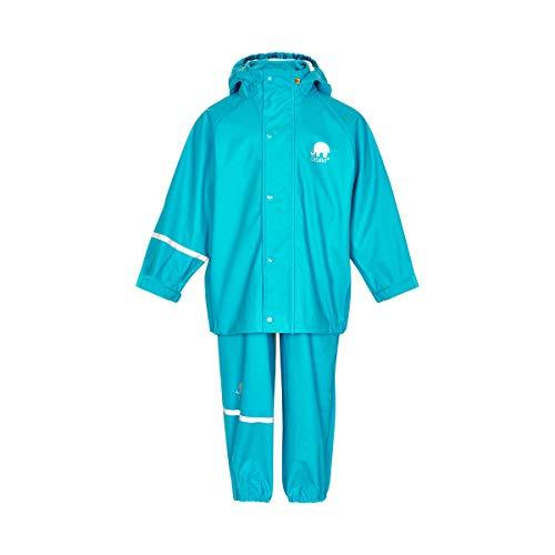 Celavi Kinder Unisex Regen Anzug, Jacke und Latzhose mit Hosenträgern, Alter 3-4 Jahre, Größe: 100, Farbe: Türkis, 1145
