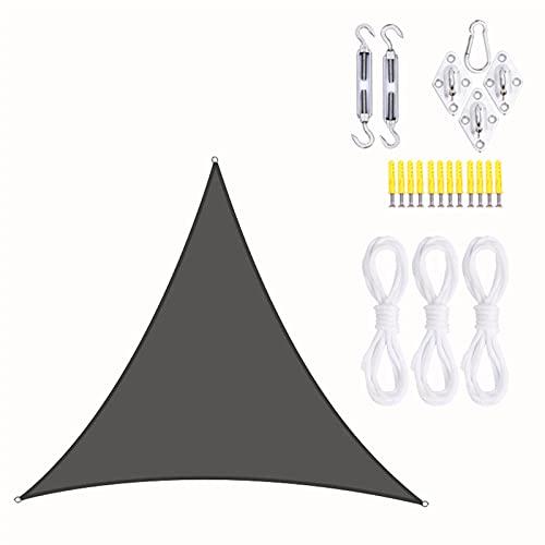 Toldo Vela de Sombra Triangular 5x5x5m, Triángulo de Vela de Parasol Impermeable Triángulo de Vela de Jardín Protección UV con Kit de Fijación y Cuerda para Terrazas, Exteriores, Jardín,Dark Gray
