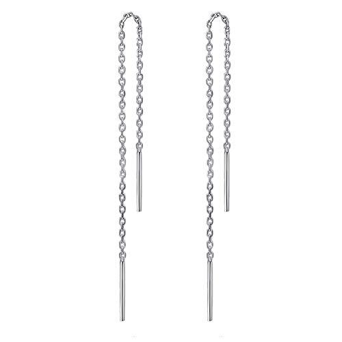 925 Sterling Silber Stäbchen Durchzieher Ohrringe Lange Quaste Einfädler Ohrringe für Frauen Mädchen
