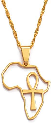 Yiffshunl Collar Mujer Collar África Mapa y Colgante Collar Mujeres niña/Hombres joyería africanos mapas Cadenas símbolo Egipcio Cruz 60 Cm