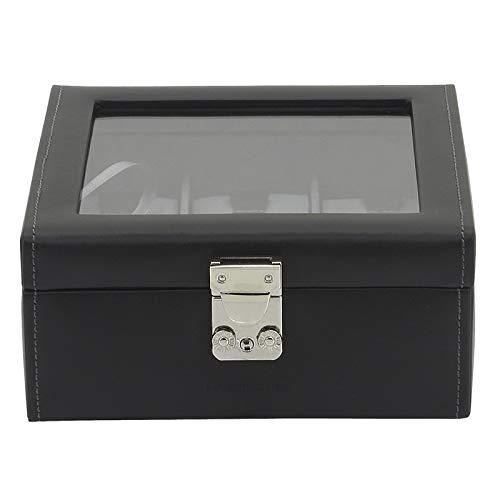 Friedrich23 Uhrenkoffer – Uhrenkasten Infinity mit Glasdeckel - Echtleder anthrazit – Platz für 6 Uhren – abschließbar