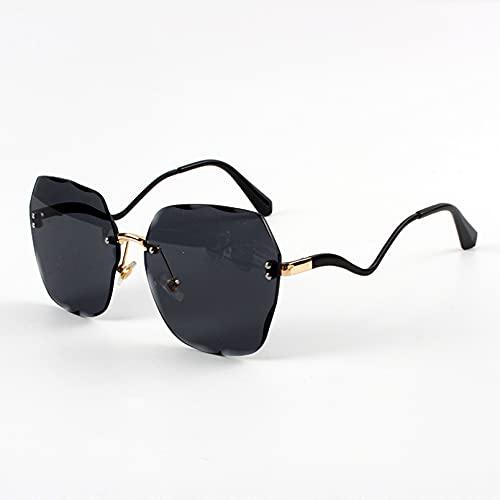 SXRAI Gafas de Sol sin Montura para Mujer, Gafas de Sol cuadradas de Gran tamaño, Gafas de Sol con Montura de Medio Metal a la Moda para Hombre, Uv400,C1