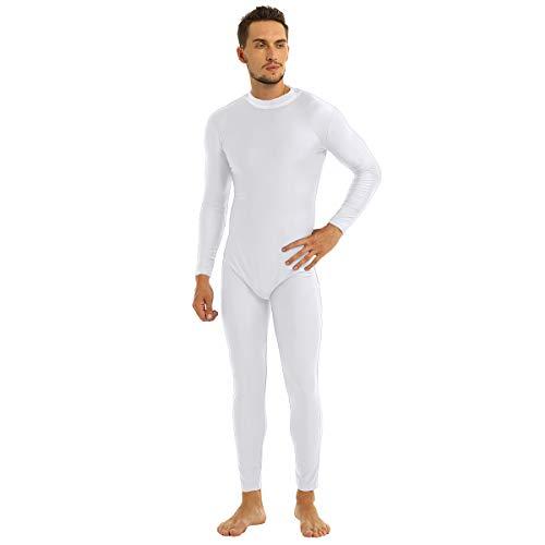dPois Herren Ganzkörperanzug Jumpsuit Overall Langarm Bodysuit mit Stehkragen Body Atmungsaktiv Catsuit für Sport Training Gr. M-2XL Weiß X-Large