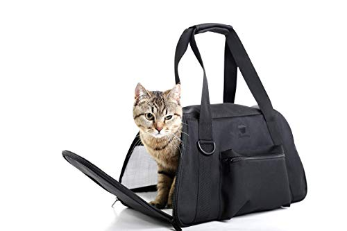 Loncarey Pet Travel Carrier Airline Approved, Portable Pet Carrier Soft Sided with Pocket, Name Tag and Shoulder Strap for Small Dogs Cats Puppy(Black)