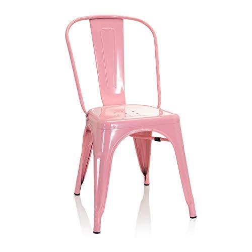 hjh OFFICE 645051 Bistrostuhl VANTAGGIO Comfort Metall Rosa Bistro Stuhl im Industry-Design, stapelbar