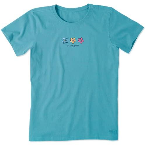 Life is Good Womens Vintage Crusher Flower Graphic T-Shirt, Coastal Blue, XXX-Large