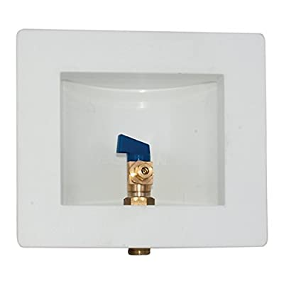 Eastman 60262 PEX Pre-assembled Ice Maker Outlet Box, 1/2 Inch Expansion PEX Connection with Installed 1/4-Turn Ball Valve, White by EZ-FLO International Inc.