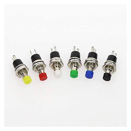 XIAOZSM Interruptores 6pcs PBS-110 7MM momentáneo Interruptor de pulsador Pulse el botón de reinicio momentáneo On Off Push Button Micro Interruptor Normalmente Abierto NO Car (Color : Mixed6pcs)