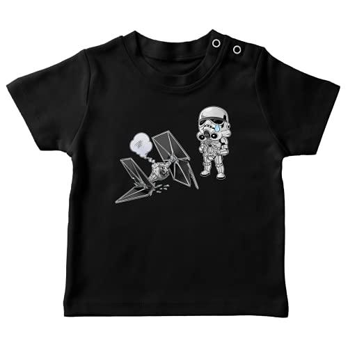 T-Shirt bébé Noir Parodie Star Wars - Caricature SD Stormtrooper et Son Mini Drone Tie Fighter - Drone Mania : Le Cadeau d'anniversaire d'un Stormtrooper (T-Shirt de qualité Premium de Taille 12 Mois