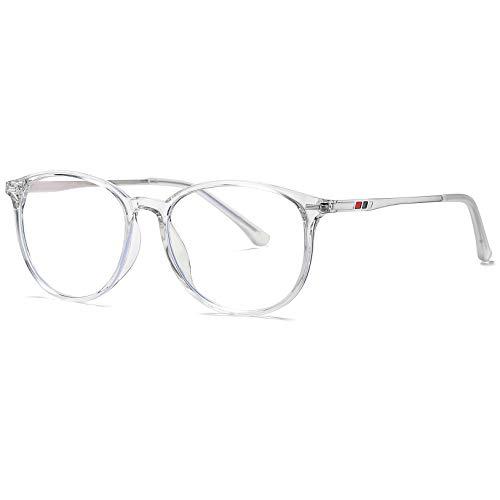 Benefast Blaulichtfilter Brille Damen Herren ohne stärke Computerbrille Gaming Brille Blaufilter PC Brille Bluelight Filter TR90 & Metal Rahmen (Transparent)