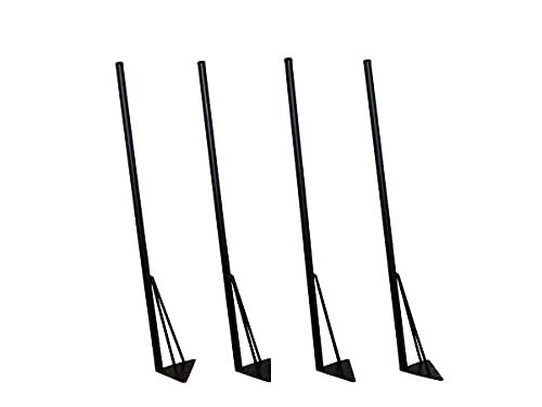 マメてりあ アイアンレッグ 角度付き 丸ロングタイプ 鉄脚 DIY テーブル脚 4本セット ツヤ消し黒(マッドブラック) カット サイズ オーダー 可能 アンティーク ビンテージ 黒 ブラック (88cm)